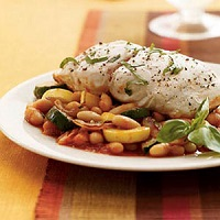 Tuscan Bass With Squash And Beans