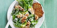Kale And Romaine Chicken Caesar Salad