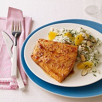 Sweet And Tangy Glazed Salmon With Orange-Almond Rice