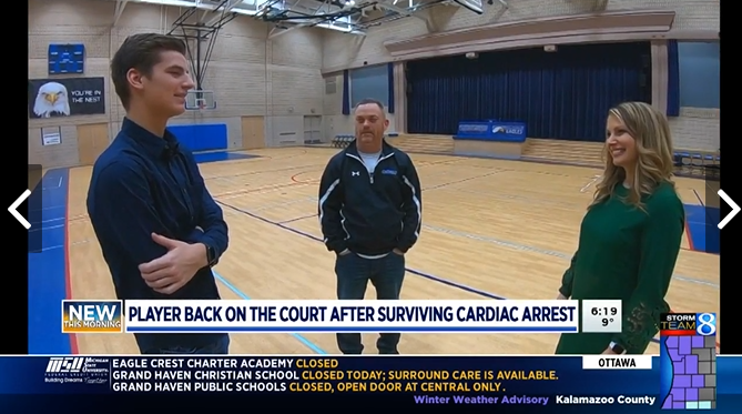 Student-athlete whose heart stopped returning to court